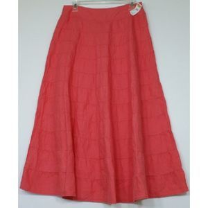 Talbots Linen Skirt Flared Coral Size 6 NWT